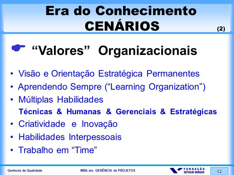 Gerência de Qualidade MBA em GERÊNCIA de PROJETOS 12 Era do Conhecimento CENÁRIOS (2) Valores Organizacionais Visão e Orientação Estratégica Permanent
