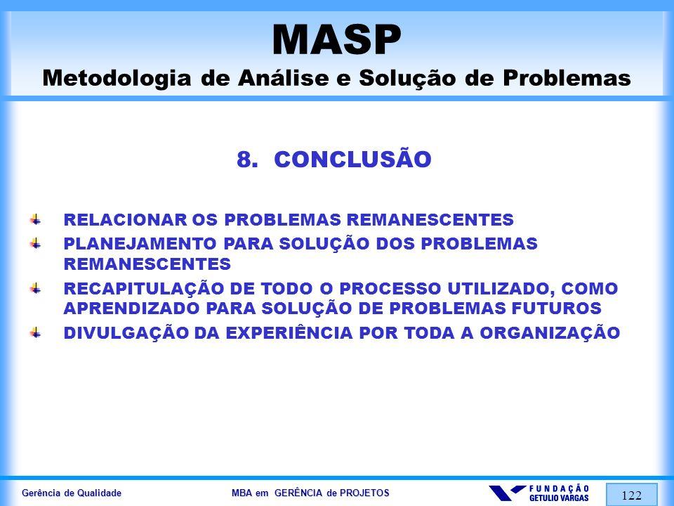 Gerência de Qualidade MBA em GERÊNCIA de PROJETOS 122 MASP Metodologia de Análise e Solução de Problemas 8. CONCLUSÃO RELACIONAR OS PROBLEMAS REMANESC