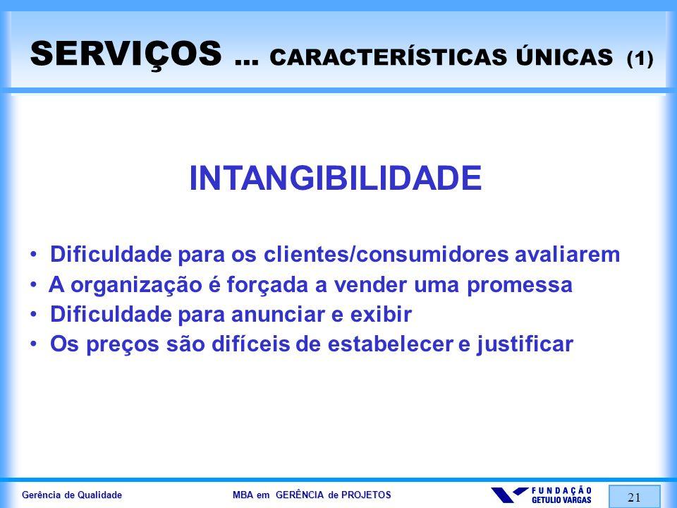 Gerência de Qualidade MBA em GERÊNCIA de PROJETOS 21 SERVIÇOS... CARACTERÍSTICAS ÚNICAS (1) INTANGIBILIDADE Dificuldade para os clientes/consumidores