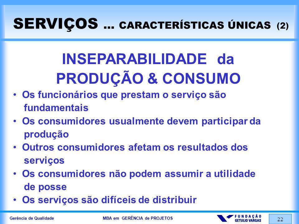 Gerência de Qualidade MBA em GERÊNCIA de PROJETOS 22 SERVIÇOS... CARACTERÍSTICAS ÚNICAS (2) INSEPARABILIDADE da PRODUÇÃO & CONSUMO Os funcionários que