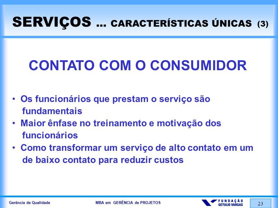 Gerência de Qualidade MBA em GERÊNCIA de PROJETOS 23 SERVIÇOS... CARACTERÍSTICAS ÚNICAS (3) CONTATO COM O CONSUMIDOR Os funcionários que prestam o ser