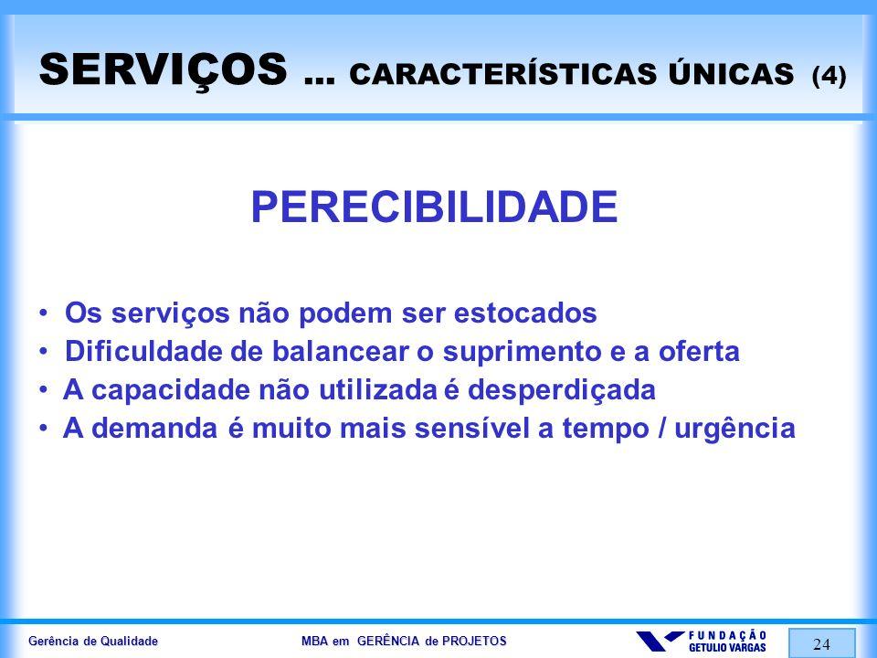 Gerência de Qualidade MBA em GERÊNCIA de PROJETOS 24 SERVIÇOS... CARACTERÍSTICAS ÚNICAS (4) PERECIBILIDADE Os serviços não podem ser estocados Dificul