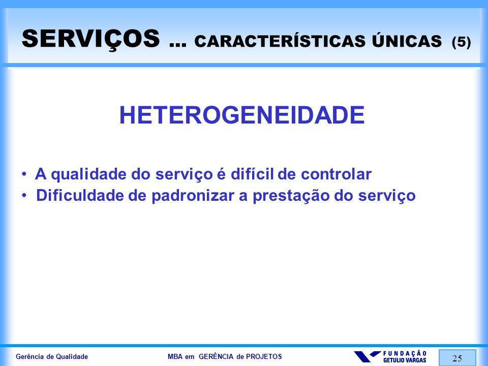Gerência de Qualidade MBA em GERÊNCIA de PROJETOS 25 SERVIÇOS... CARACTERÍSTICAS ÚNICAS (5) HETEROGENEIDADE A qualidade do serviço é difícil de contro