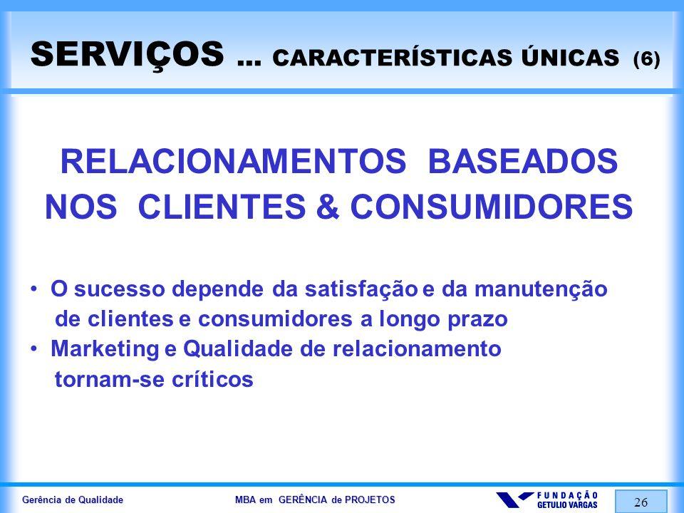 Gerência de Qualidade MBA em GERÊNCIA de PROJETOS 26 SERVIÇOS... CARACTERÍSTICAS ÚNICAS (6) RELACIONAMENTOS BASEADOS NOS CLIENTES & CONSUMIDORES O suc