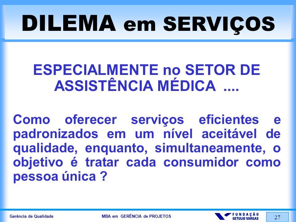 Gerência de Qualidade MBA em GERÊNCIA de PROJETOS 27 DILEMA em SERVIÇOS ESPECIALMENTE no SETOR DE ASSISTÊNCIA MÉDICA.... Como oferecer serviços eficie