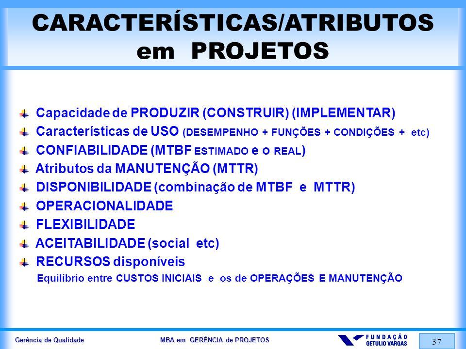 Gerência de Qualidade MBA em GERÊNCIA de PROJETOS 37 CARACTERÍSTICAS/ATRIBUTOS em PROJETOS Capacidade de PRODUZIR (CONSTRUIR) (IMPLEMENTAR) Caracterís