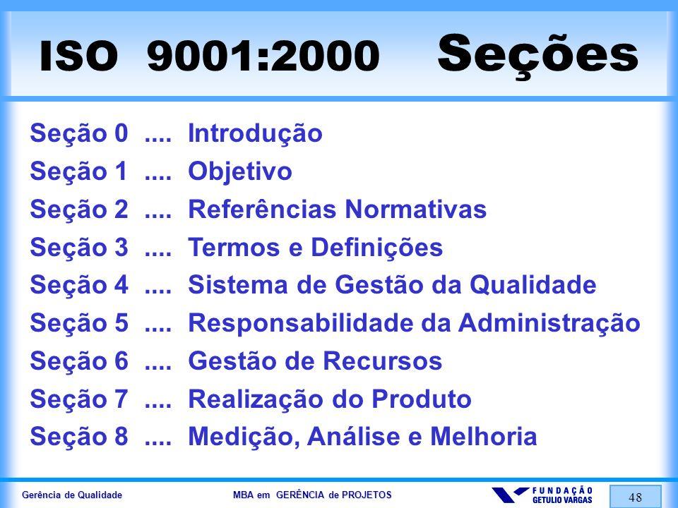 Gerência de Qualidade MBA em GERÊNCIA de PROJETOS 48 ISO 9001:2000 Seções Seção 0.... Introdução Seção 1.... Objetivo Seção 2.... Referências Normativ