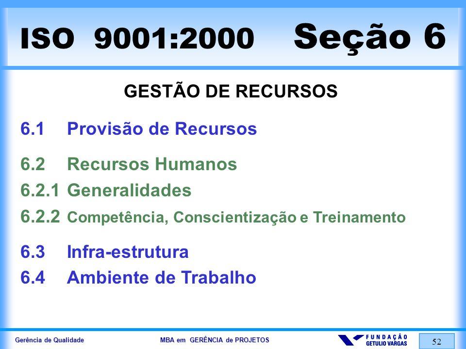 Gerência de Qualidade MBA em GERÊNCIA de PROJETOS 52 ISO 9001:2000 Seção 6 GESTÃO DE RECURSOS 6.1Provisão de Recursos 6.2Recursos Humanos 6.2.1General
