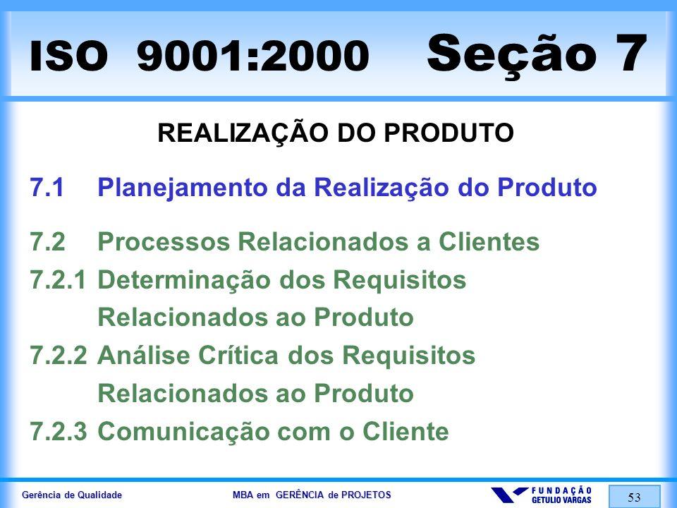 Gerência de Qualidade MBA em GERÊNCIA de PROJETOS 53 ISO 9001:2000 Seção 7 REALIZAÇÃO DO PRODUTO 7.1Planejamento da Realização do Produto 7.2Processos