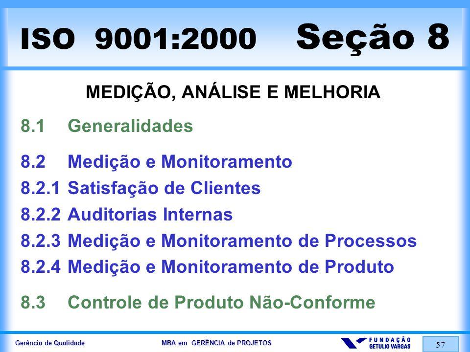 Gerência de Qualidade MBA em GERÊNCIA de PROJETOS 57 ISO 9001:2000 Seção 8 MEDIÇÃO, ANÁLISE E MELHORIA 8.1Generalidades 8.2Medição e Monitoramento 8.2