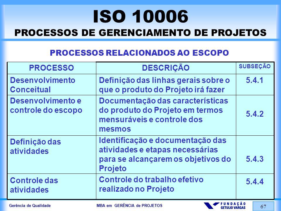 Gerência de Qualidade MBA em GERÊNCIA de PROJETOS 67 ISO 10006 PROCESSOS DE GERENCIAMENTO DE PROJETOS PROCESSOS RELACIONADOS AO ESCOPO 5.4.1 5.4.2 5.4