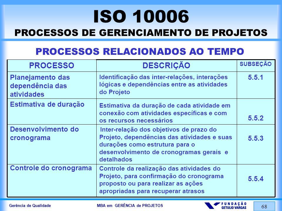 Gerência de Qualidade MBA em GERÊNCIA de PROJETOS 68 ISO 10006 PROCESSOS DE GERENCIAMENTO DE PROJETOS PROCESSOS RELACIONADOS AO TEMPO 5.5.1 5.5.2 5.5.