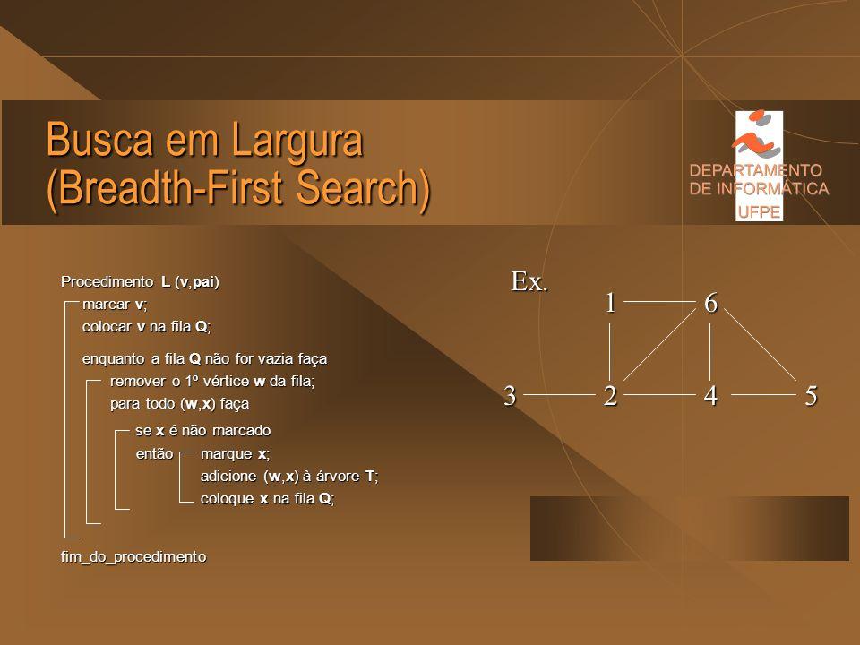 Busca em Largura (Breadth-First Search) Dentre todos os vértices marcados e incidentes a alguma aresta ainda não explorada, escolher aquele menos rece