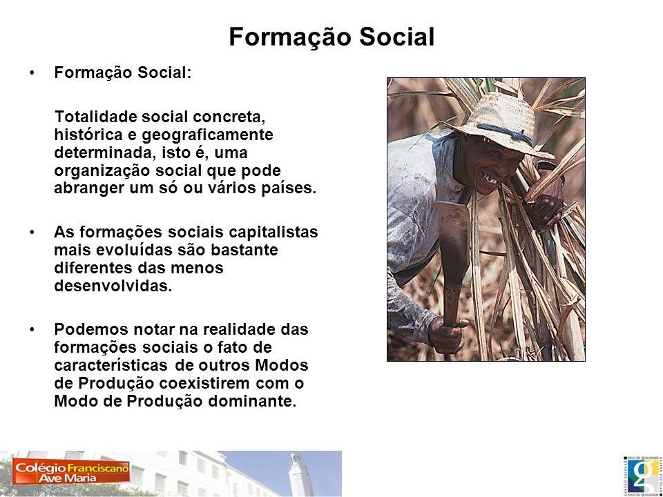 Formação Social Formação Social: Totalidade social concreta, histórica e geograficamente determinada, isto é, uma organização social que pode abranger