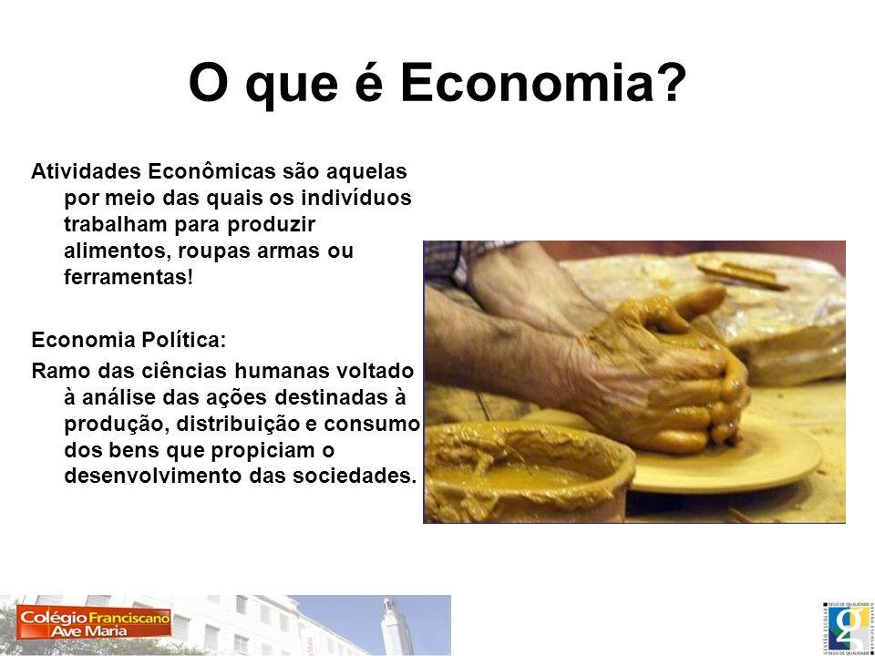 O que é Economia? Atividades Econômicas são aquelas por meio das quais os indivíduos trabalham para produzir alimentos, roupas armas ou ferramentas! E