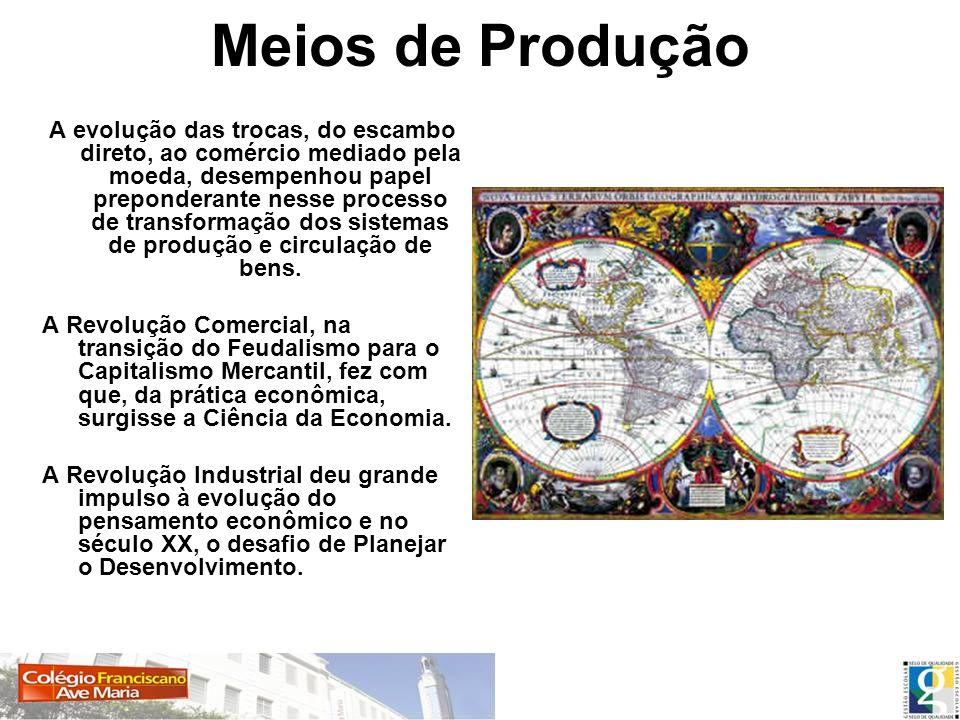Meios de Produção A evolução das trocas, do escambo direto, ao comércio mediado pela moeda, desempenhou papel preponderante nesse processo de transfor