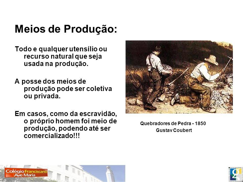 Meios de Produção: Todo e qualquer utensílio ou recurso natural que seja usada na produção. A posse dos meios de produção pode ser coletiva ou privada