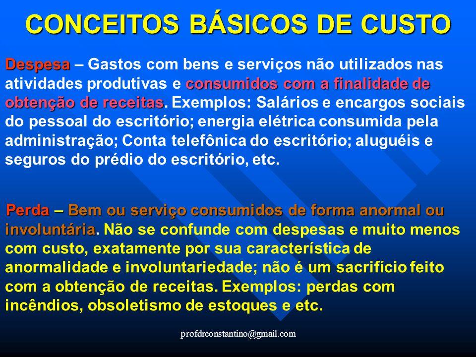 profdrconstantino@gmail.com CONCEITOS BÁSICOS DE CUSTO Despesa consumidos com a finalidade de obtenção de receitas Despesa – Gastos com bens e serviço