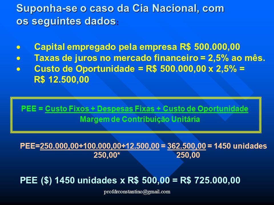 profdrconstantino@gmail.com Suponha-se o caso da Cia Nacional, com os seguintes dados : Capital empregado pela empresa R$ 500.000,00 Taxas de juros no