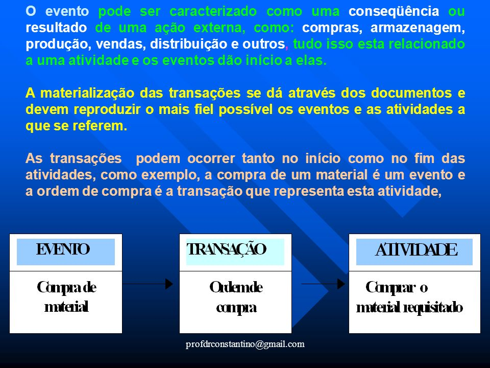 profdrconstantino@gmail.com O evento pode ser caracterizado como uma conseqüência ou resultado de uma ação externa, como: compras, armazenagem, produç