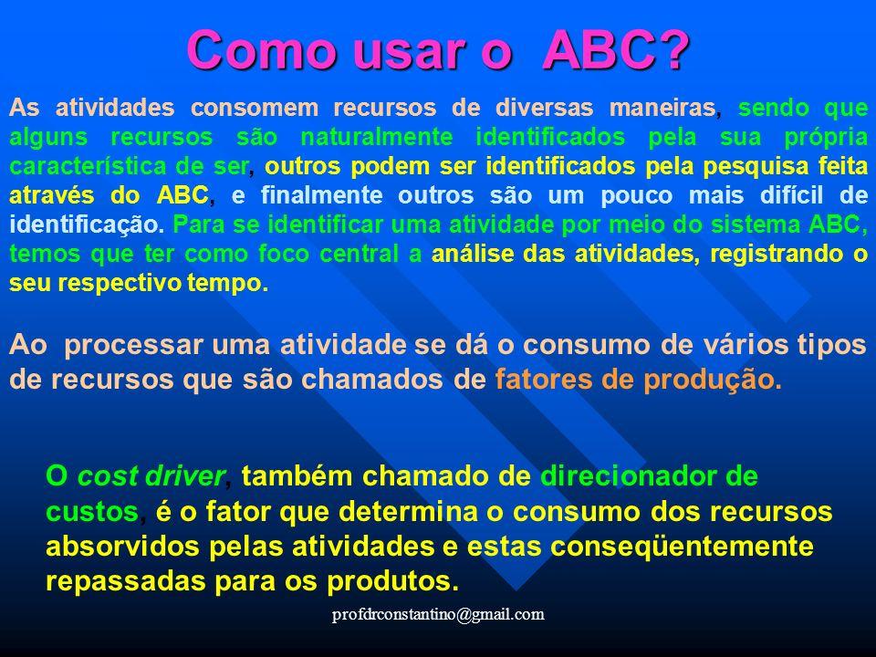 profdrconstantino@gmail.com Como usar o ABC? As atividades consomem recursos de diversas maneiras, sendo que alguns recursos são naturalmente identifi