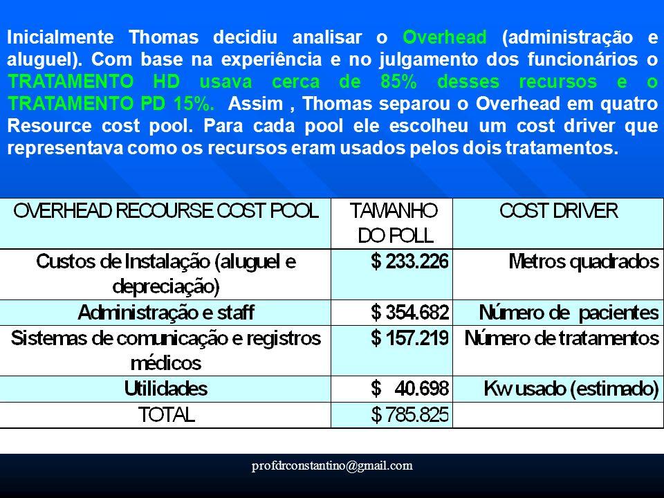 profdrconstantino@gmail.com Inicialmente Thomas decidiu analisar o Overhead (administração e aluguel). Com base na experiência e no julgamento dos fun