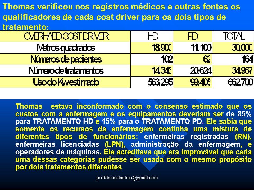 profdrconstantino@gmail.com Thomas verificou nos registros médicos e outras fontes os qualificadores de cada cost driver para os dois tipos de tratame