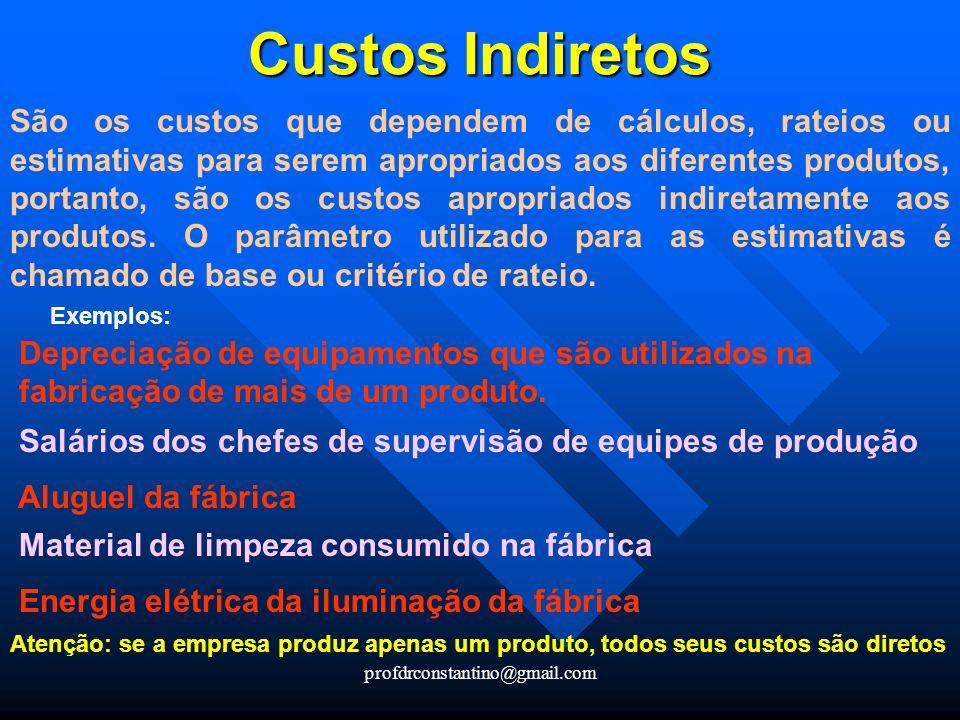 profdrconstantino@gmail.com Custos Indiretos Custos Indiretos São os custos que dependem de cálculos, rateios ou estimativas para serem apropriados ao