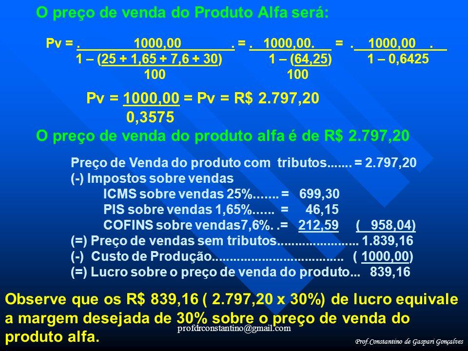 profdrconstantino@gmail.com O preço de venda do Produto Alfa será: Pv =. 1000,00. =. 1000,00. =. 1000,00. 1 – (25 + 1,65 + 7,6 + 30) 1 – (64,25) 1 – 0