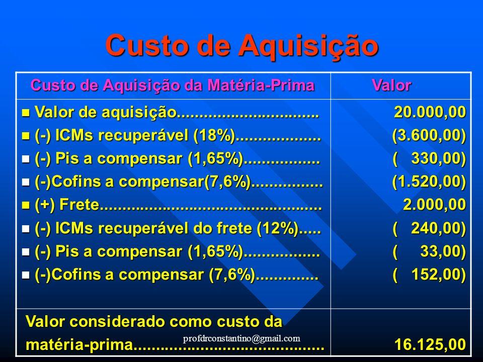 profdrconstantino@gmail.com Custo de Aquisição da Matéria-Prima Custo de Aquisição da Matéria-Prima Valor Valor Valor de aquisição....................