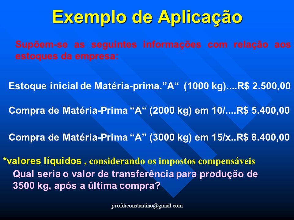 profdrconstantino@gmail.com Exemplo de Aplicação Supõem-se as seguintes informações com relação aos estoques da empresa: Estoque inicial de Matéria-pr