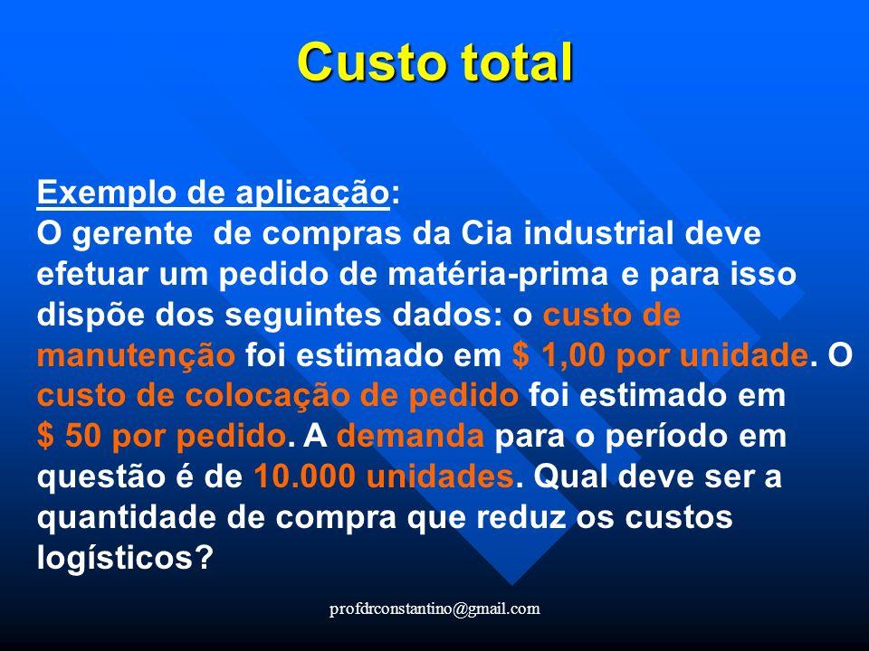 profdrconstantino@gmail.com Custo total Exemplo de aplicação: O gerente de compras da Cia industrial deve efetuar um pedido de matéria-prima e para is