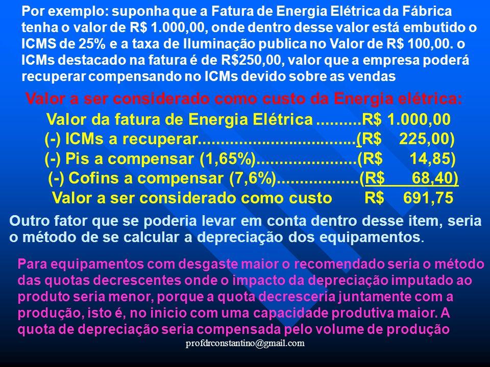 profdrconstantino@gmail.com Por exemplo: suponha que a Fatura de Energia Elétrica da Fábrica tenha o valor de R$ 1.000,00, onde dentro desse valor est
