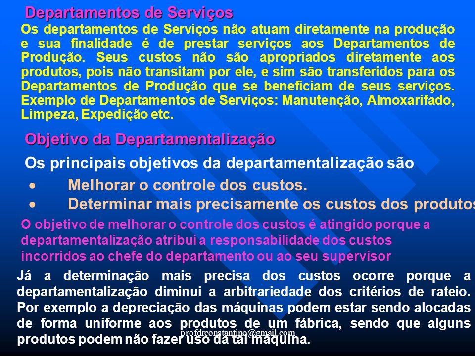 profdrconstantino@gmail.com Departamentos de Serviços Os departamentos de Serviços não atuam diretamente na produção e sua finalidade é de prestar ser