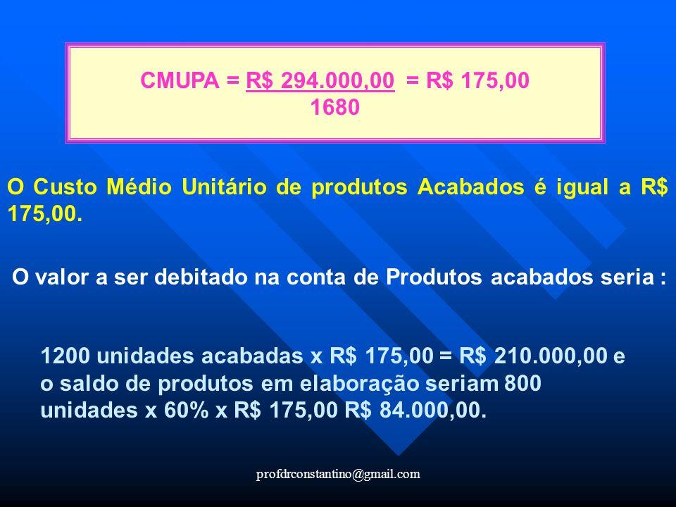 profdrconstantino@gmail.com O Custo Médio Unitário de produtos Acabados é igual a R$ 175,00. O valor a ser debitado na conta de Produtos acabados seri