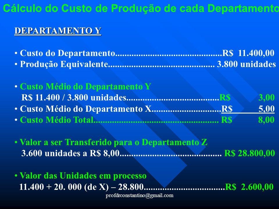 profdrconstantino@gmail.com Cálculo do Custo de Produção de cada Departamento DEPARTAMENTO Y Custo do Departamento....................................