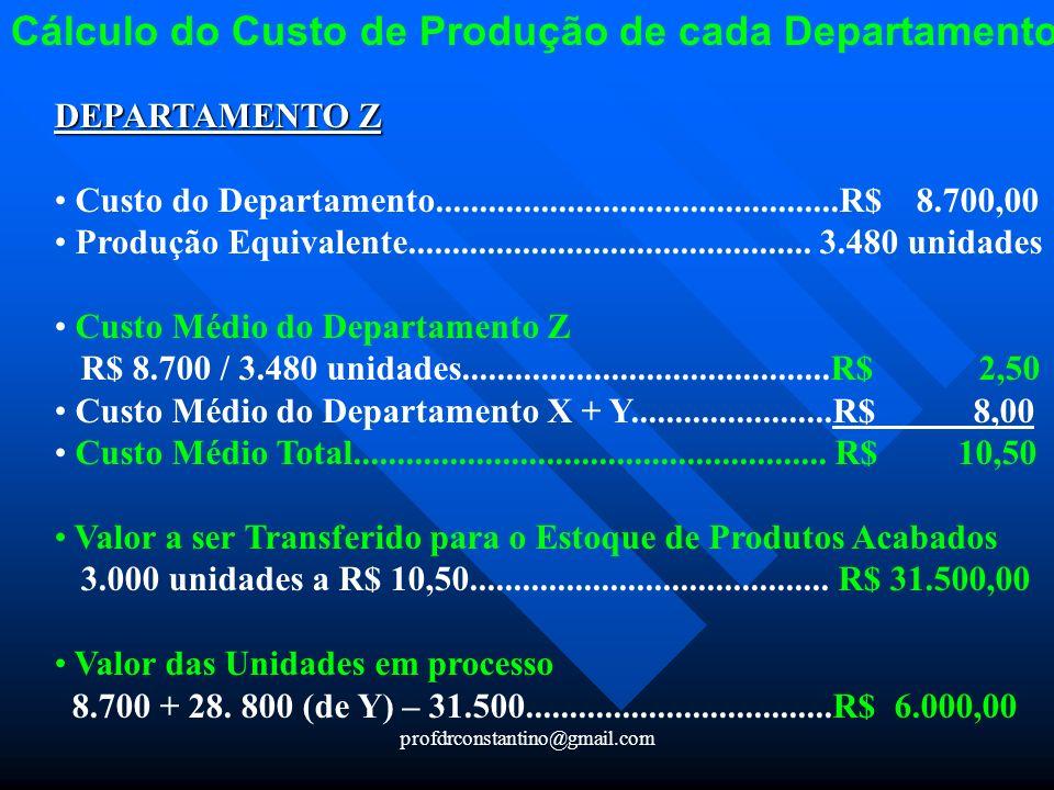 profdrconstantino@gmail.com Cálculo do Custo de Produção de cada Departamento DEPARTAMENTO Z Custo do Departamento....................................