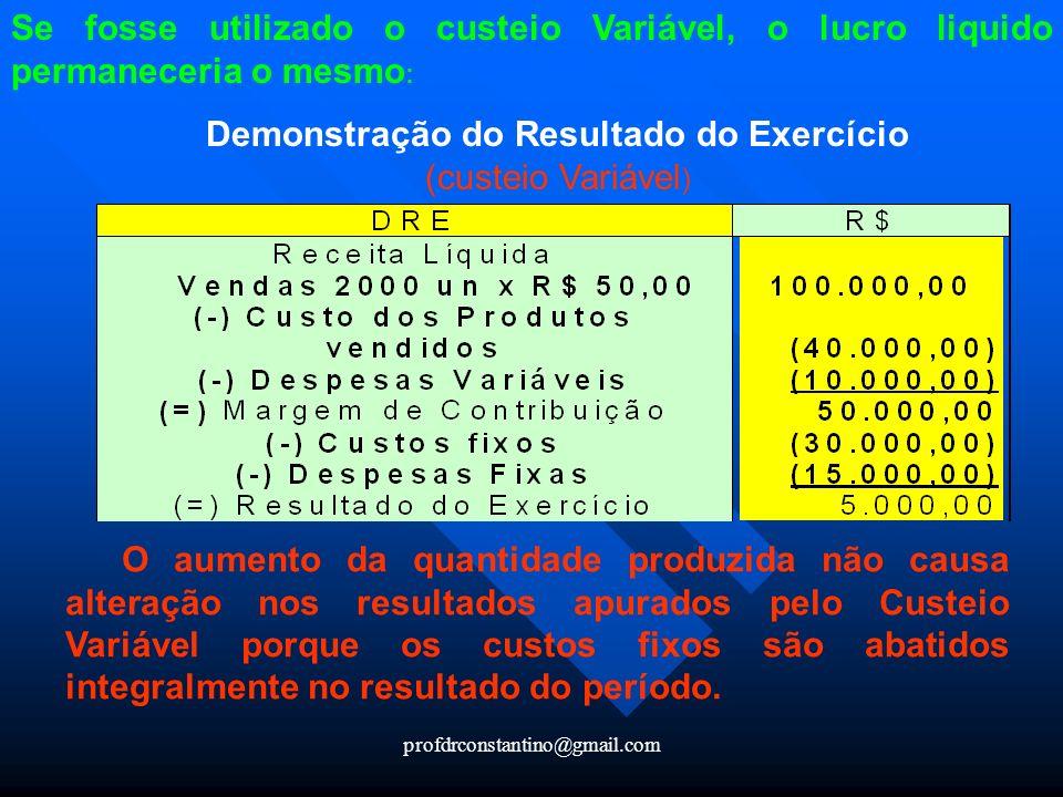 profdrconstantino@gmail.com Se fosse utilizado o custeio Variável, o lucro liquido permaneceria o mesmo : Demonstração do Resultado do Exercício (cust
