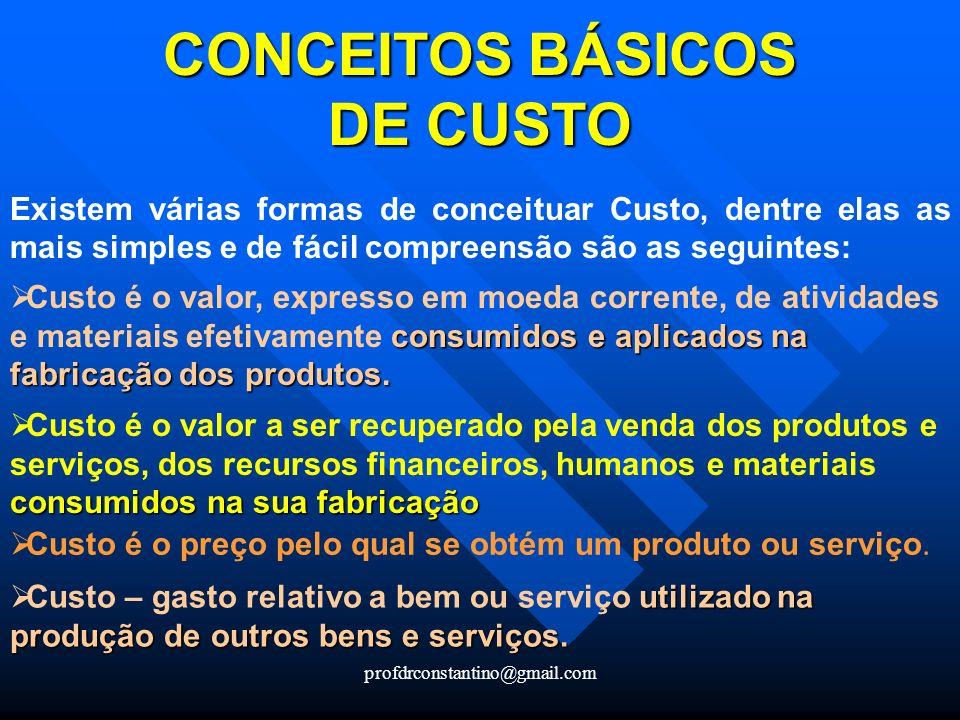 profdrconstantino@gmail.com CONCEITOS BÁSICOS DE CUSTO CONCEITOS BÁSICOS DE CUSTO Existem várias formas de conceituar Custo, dentre elas as mais simpl
