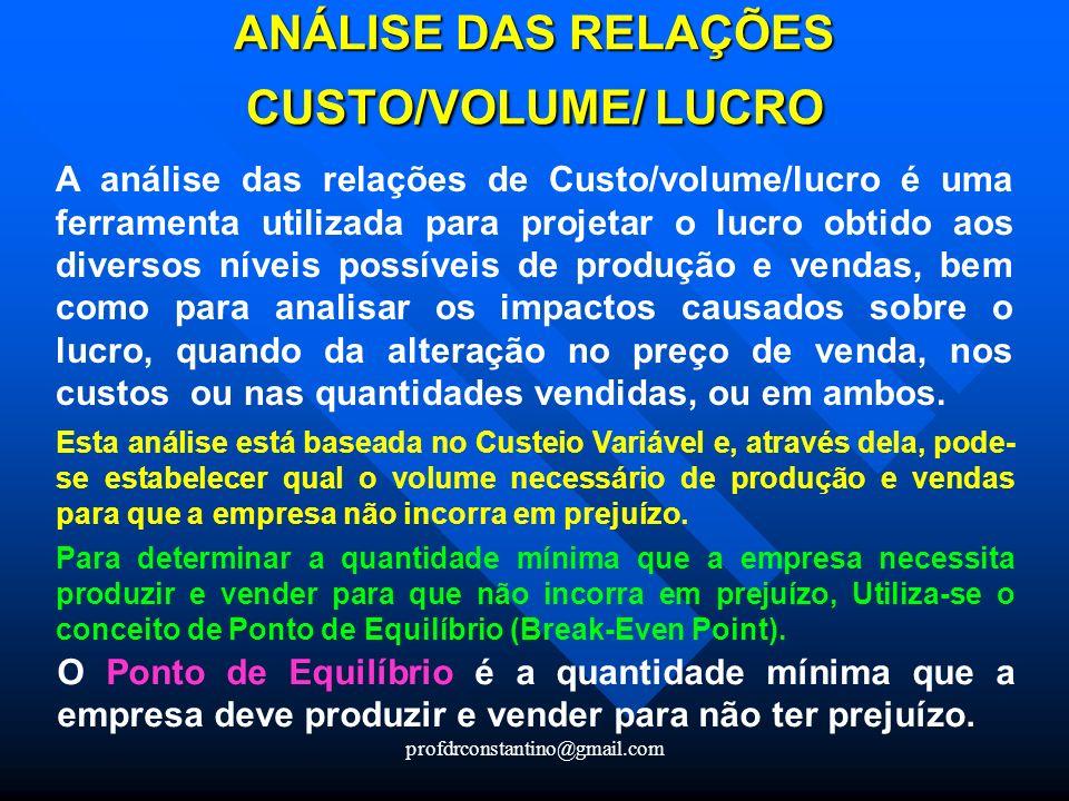 profdrconstantino@gmail.com ANÁLISE DAS RELAÇÕES CUSTO/VOLUME/ LUCRO A análise das relações de Custo/volume/lucro é uma ferramenta utilizada para proj