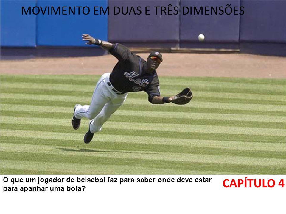 MOVIMENTO EM DUAS E TRÊS DIMENSÕES CAPÍTULO 4 O que um jogador de beisebol faz para saber onde deve estar para apanhar uma bola?