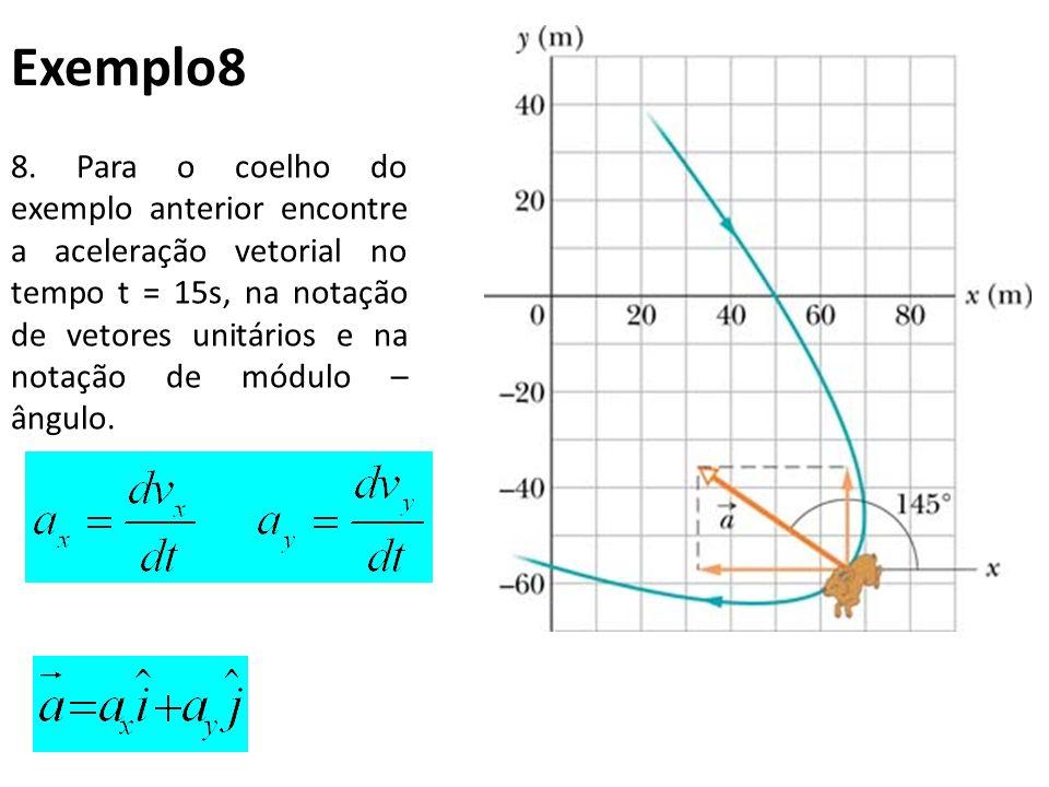 8. Para o coelho do exemplo anterior encontre a aceleração vetorial no tempo t = 15s, na notação de vetores unitários e na notação de módulo – ângulo.