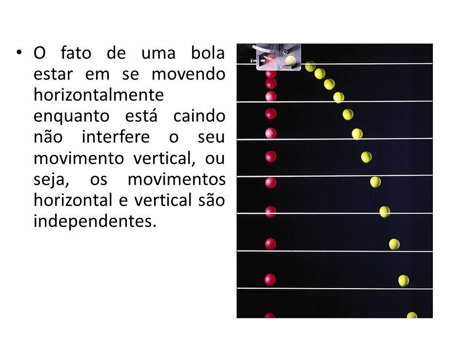O fato de uma bola estar em se movendo horizontalmente enquanto está caindo não interfere o seu movimento vertical, ou seja, os movimentos horizontal
