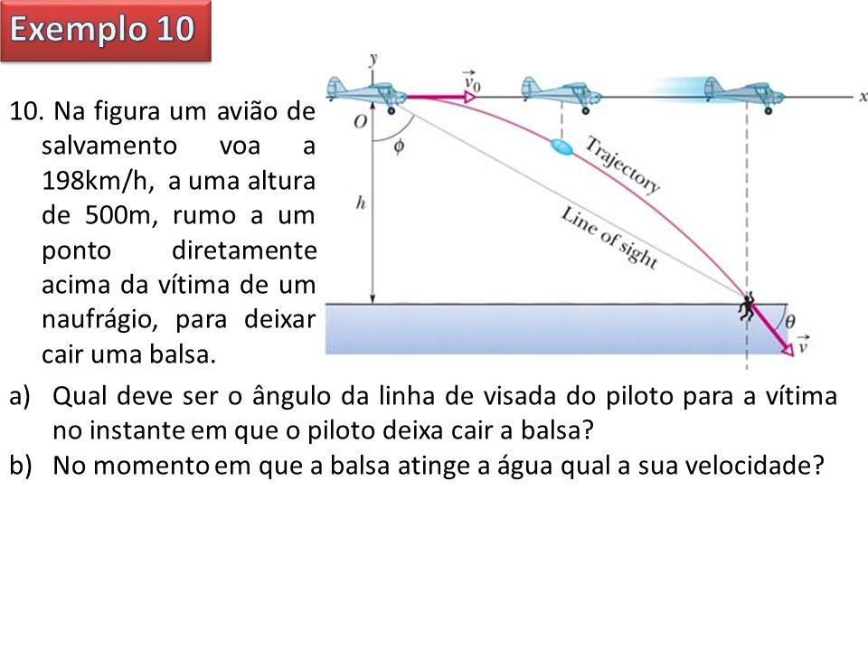 10. Na figura um avião de salvamento voa a 198km/h, a uma altura de 500m, rumo a um ponto diretamente acima da vítima de um naufrágio, para deixar cai
