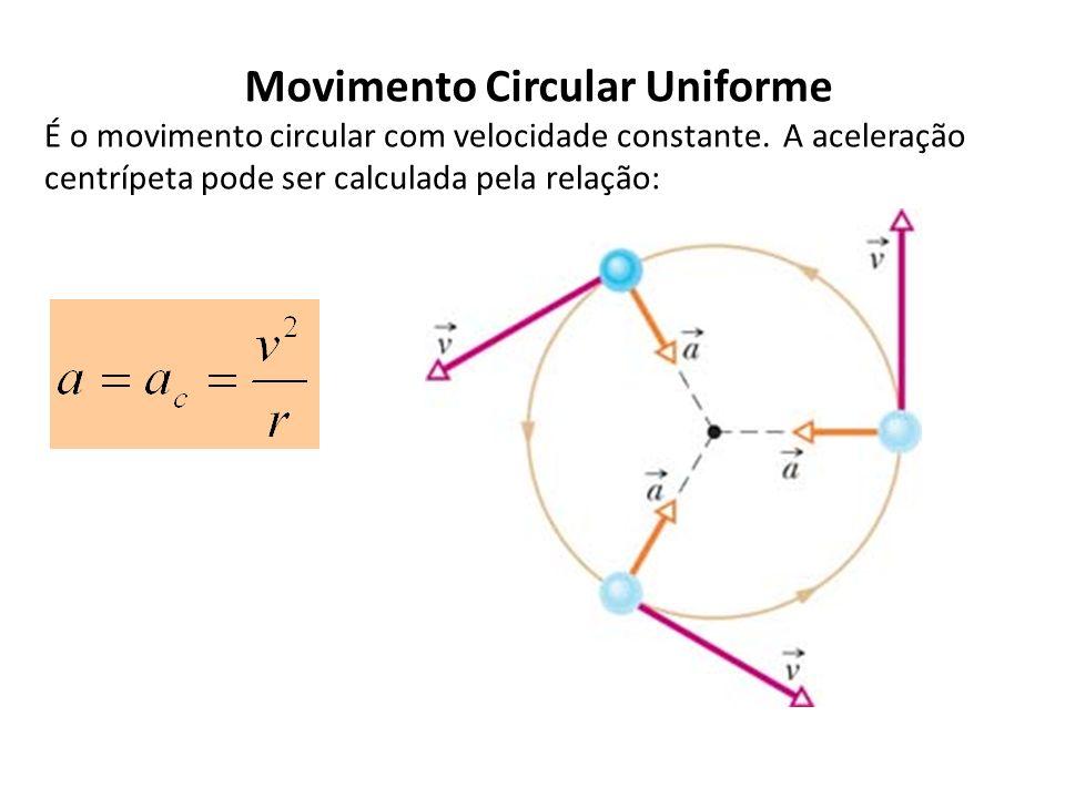 Movimento Circular Uniforme É o movimento circular com velocidade constante. A aceleração centrípeta pode ser calculada pela relação:
