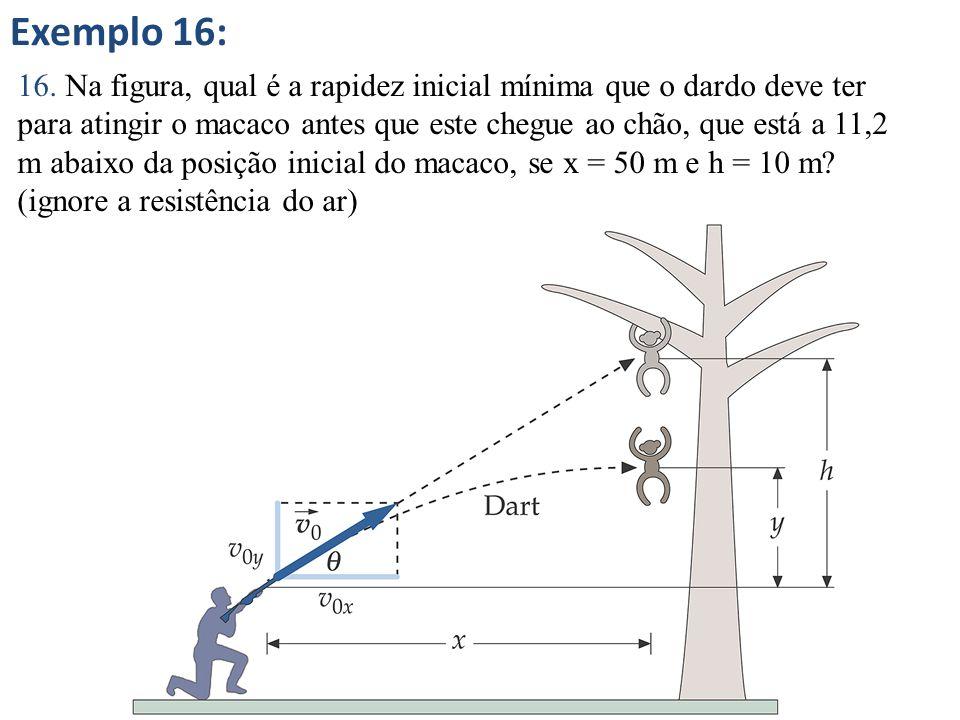 Exemplo 16: 16. Na figura, qual é a rapidez inicial mínima que o dardo deve ter para atingir o macaco antes que este chegue ao chão, que está a 11,2 m