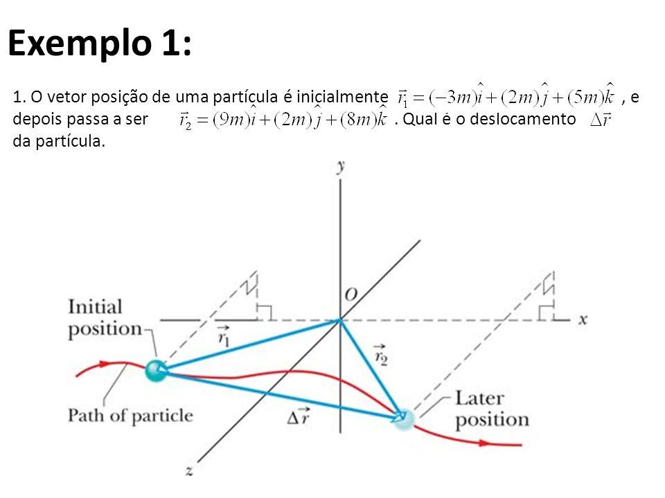 Exemplo 1: 1. O vetor posição de uma partícula é inicialmente, e depois passa a ser. Qual é o deslocamento da partícula.
