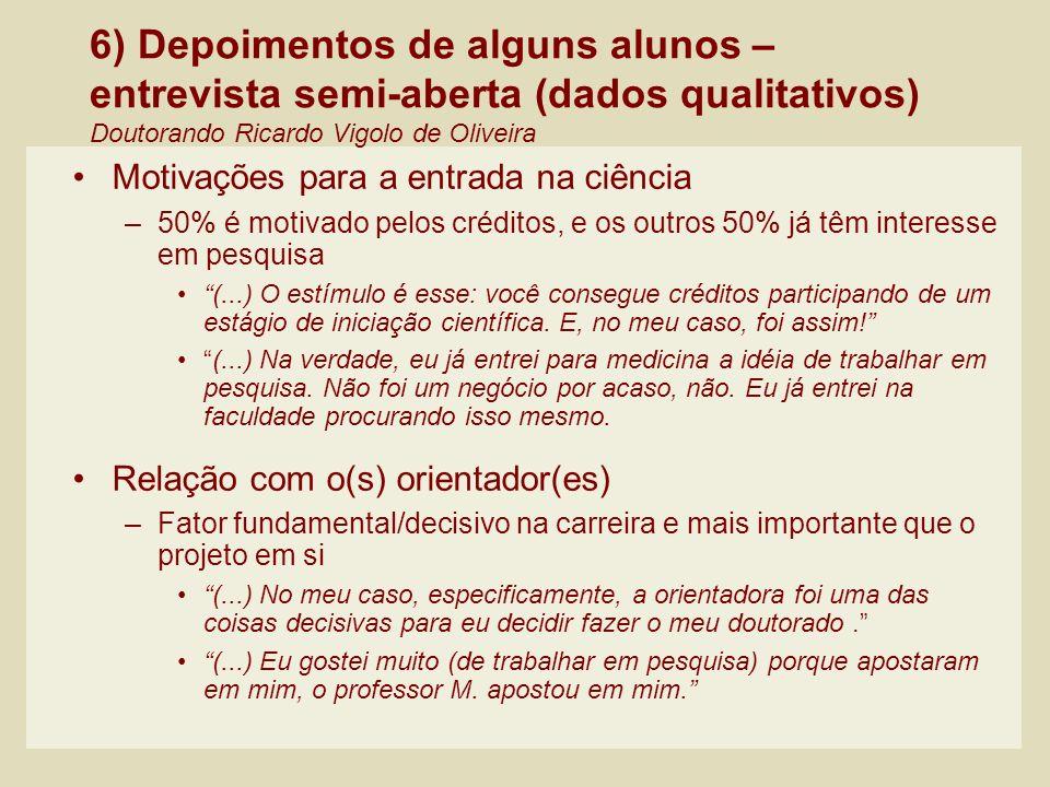 6) Depoimentos de alguns alunos – entrevista semi-aberta (dados qualitativos) Doutorando Ricardo Vigolo de Oliveira Motivações para a entrada na ciênc