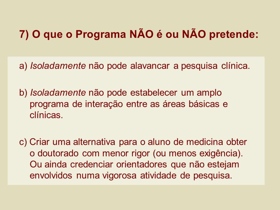 7) O que o Programa NÃO é ou NÃO pretende: a) Isoladamente não pode alavancar a pesquisa clínica. b) Isoladamente não pode estabelecer um amplo progra