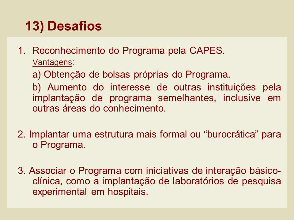 13) Desafios 1.Reconhecimento do Programa pela CAPES. Vantagens: a) Obtenção de bolsas próprias do Programa. b) Aumento do interesse de outras institu